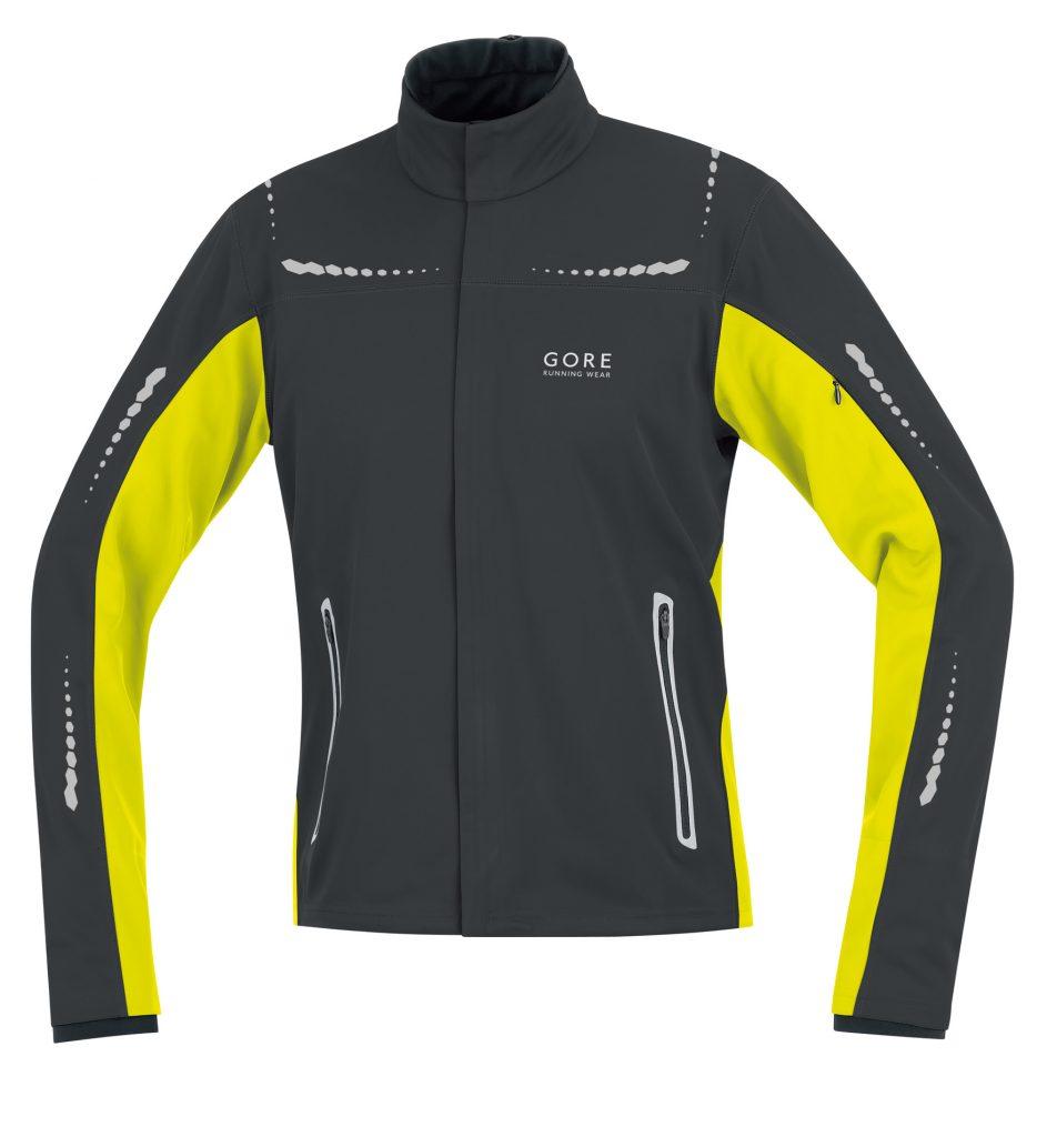 giacca running invernale giallo nero